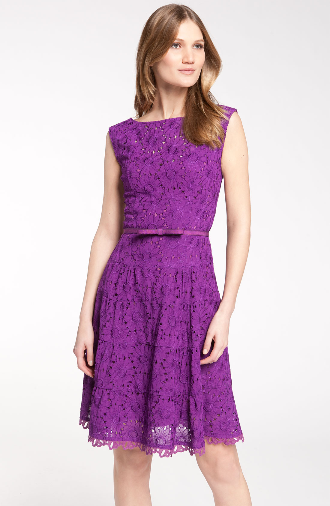 nanette lepore balloon belted lace dress in purple violet