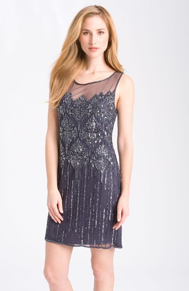 Pisarro Nights Beaded Illusion Cocktail Dress in Gray (slate)