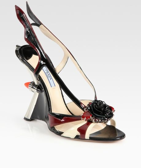 Prada Embellished Patent Leather Slingback Wedge Sandals in Brown (greenmulti) - Lyst
