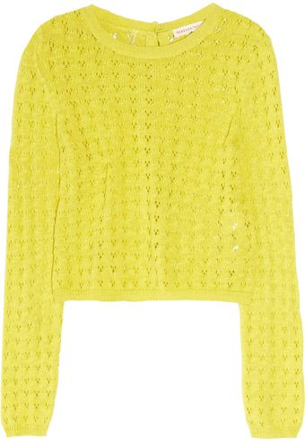 Rebecca Taylor Pointelle-knit Cotton Sweater - Lyst
