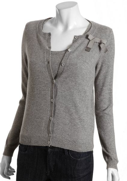 Red Valentino Grey Cashmere Twin Sweater Set in Gray grey