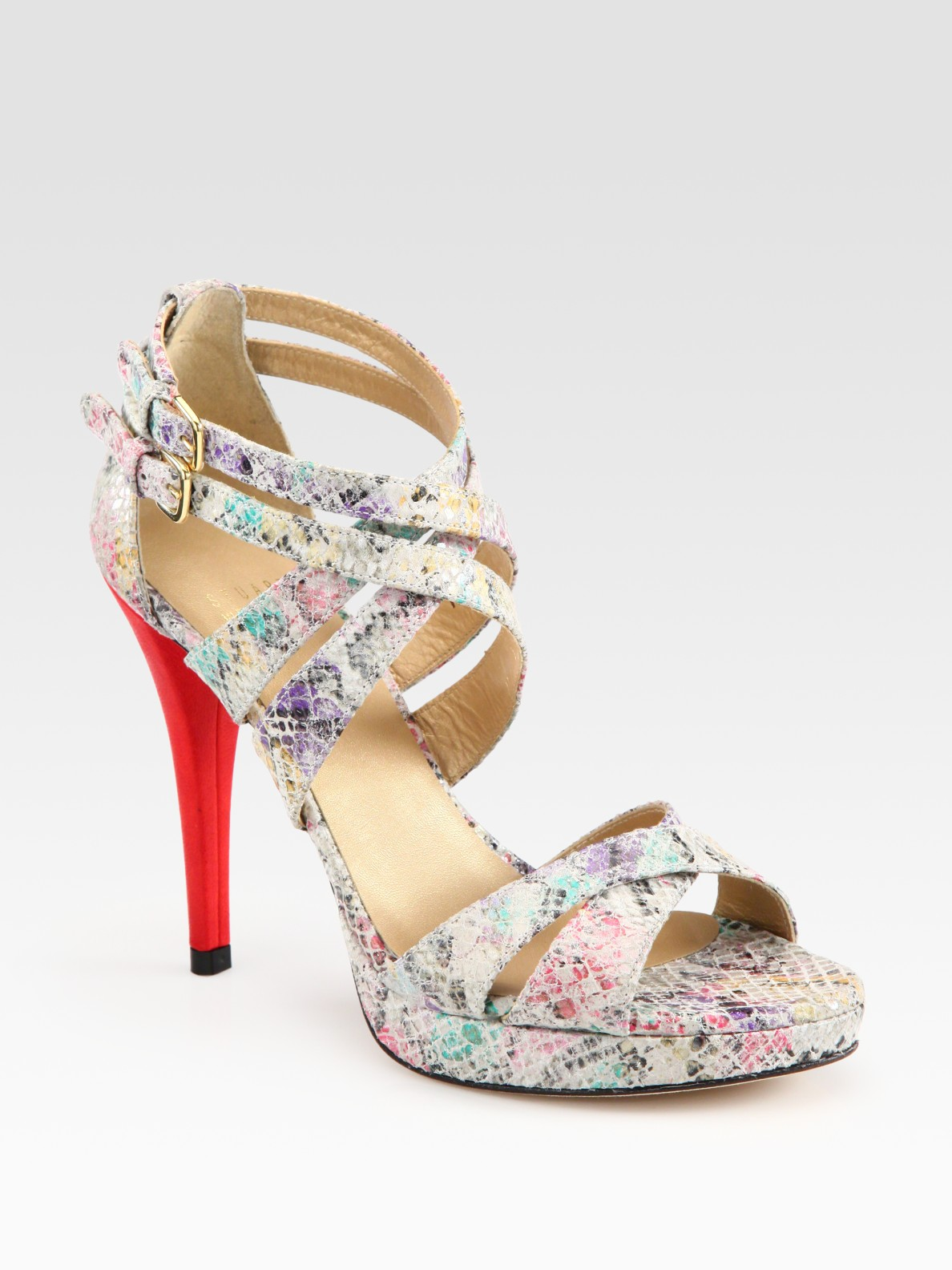 e1567c08be62 Lyst - Stuart Weitzman Multicolored Python-print Leather Platform ...