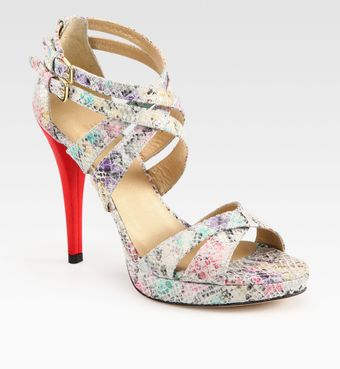 Stuart Weitzman Multicolored Python-print Leather Platform Sandals - Lyst