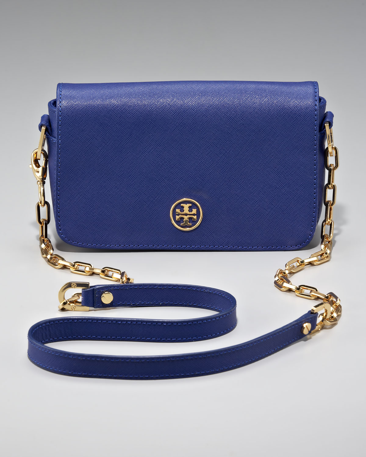 b5d4938832bd Lyst - Tory Burch Robinson Chain Bag Mini in Blue