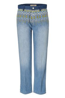 Vanessa Bruno Athé Blue Embroidered Boyfriend Jeans - Lyst