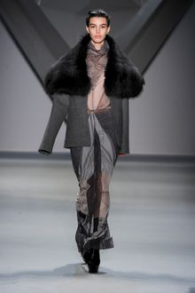 Vera Wang Fall 2012 Long Steel Grey Coat with Oversized Fur Collar - Lyst