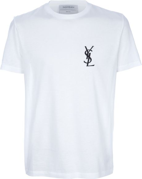 saint laurent printed t shirt in white for men lyst. Black Bedroom Furniture Sets. Home Design Ideas