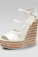 Gucci Elin Cork Wedge - Lyst