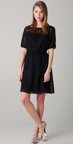 Marc By Marc Jacobs Cunningham Silk Chiffon Dress in Black