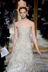 Marchesa Fall 2012 Mid Length Corseted Gown With Feather And Cord Embellishment In Beige in Beige - Lyst