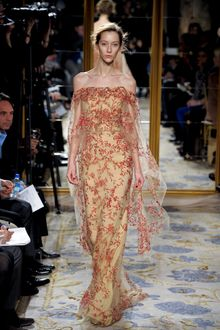Marchesa Fall 2012 Open Shoulder Evening Gown With Floral Embroidered Chiffon Layer  With Long Cape Sleeves  In Nude - Lyst