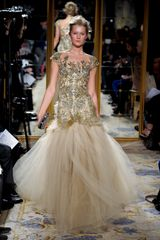 Marchesa Fall 2012 Gold Embroidered Gown With Tulle Skirt in Gold - Lyst