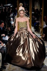 Marchesa Fall 2012 Gold Embroidered  Ball Gown - Lyst