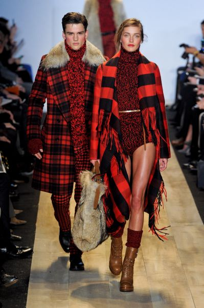 Michael Kors Fall 2012 Red Tartan Plaid Wool Coat With Oversized Mongolian Fur Trimmed Collar  in Red for Men (black, red) - Lyst