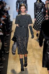 Michael Kors Fall 2012 Mongolian Fur Trimmed Knee Length See Through Skirt In Grey - Lyst