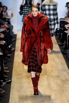 Michael Kors Fall 2012 Red Long Fur Coat - Lyst