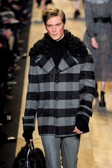 Michael Kors Fall 2012 Short Buffalo Plaid Single Breasted Coat With Oversized Mongolian Fur Trimmed Collar In Grey - Lyst