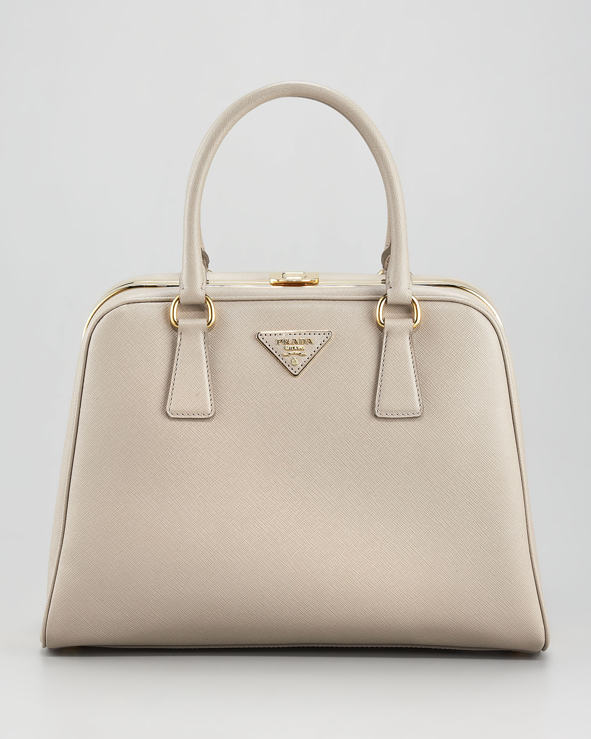 06a6be8ec328 Lyst - Prada Saffiano Lux Pyramid Tote in Natural