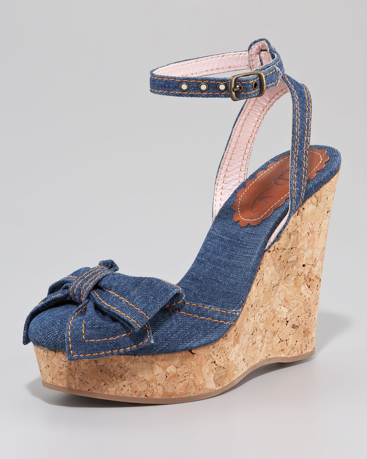 Red Valentino Denim Wedge Bow Sandals In Blue Lyst