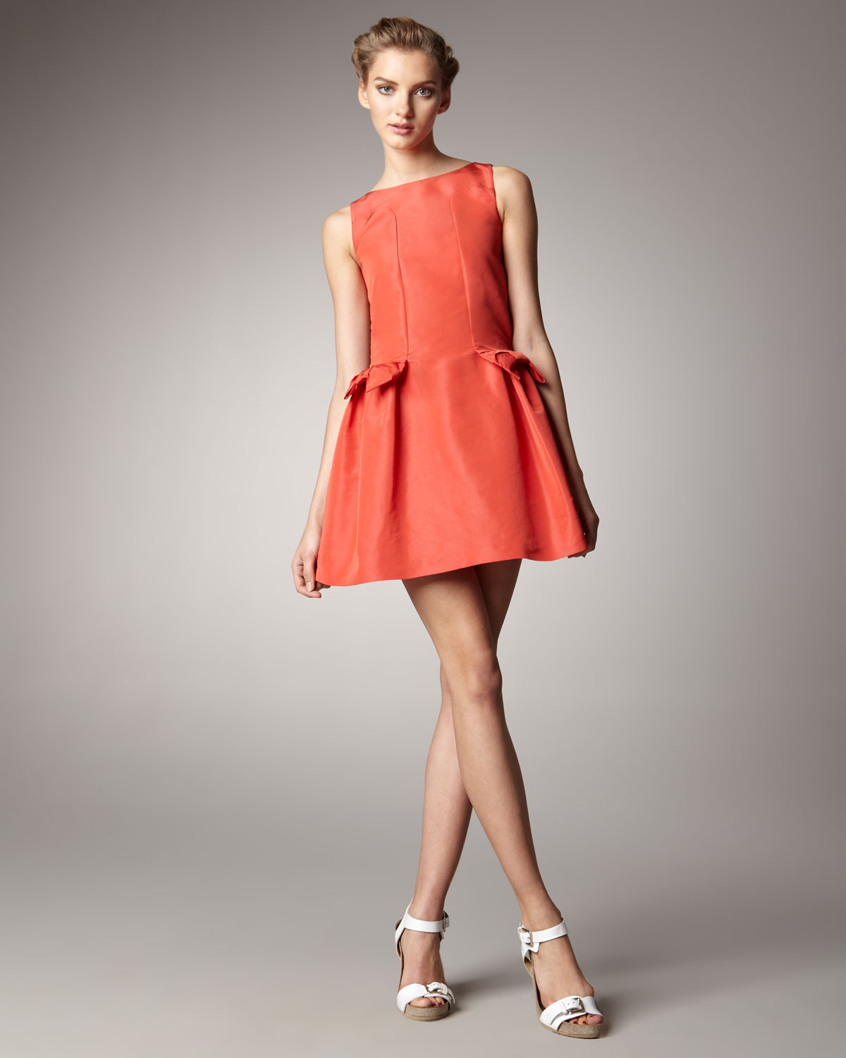 lyst red valentino bow pocket dress in pink