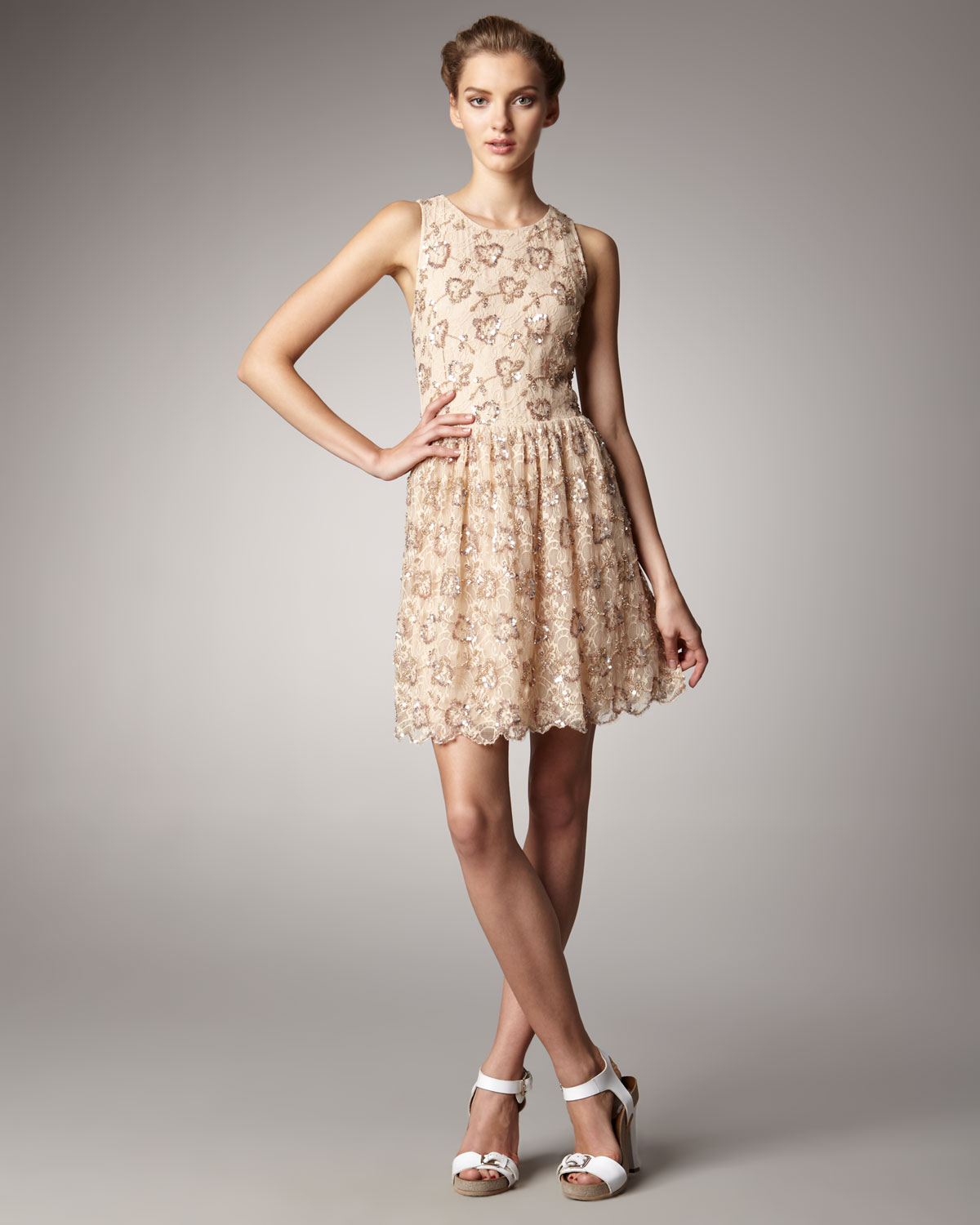Long sequined dress Red Valentino Cheap Prices Clearance Store Cheap Online maq75