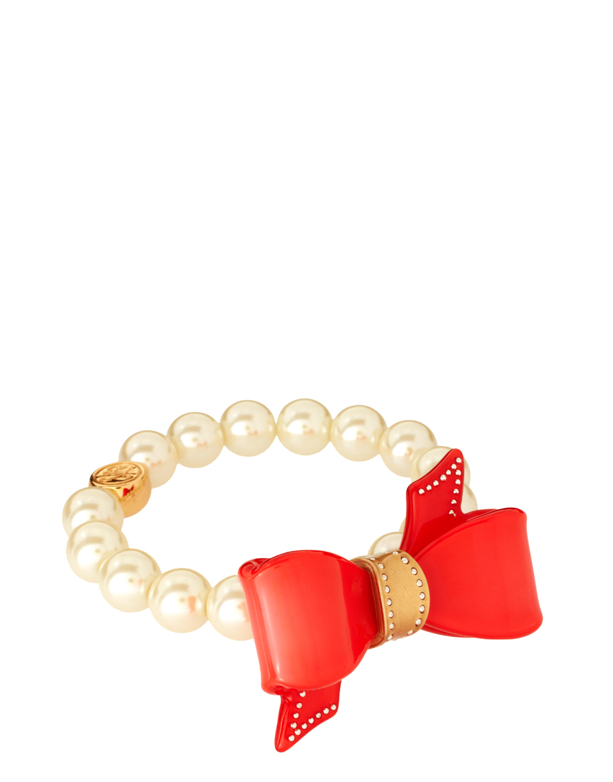 ted baker acrylic pearl bow bracelet in