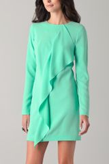 Tibi Draped Shift Dress in Green - Lyst