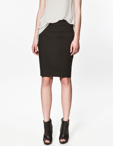 zara pencil skirt with splits in black lyst