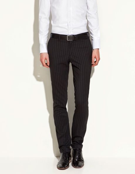 Zara Striped Trousers In Black For Men Lyst