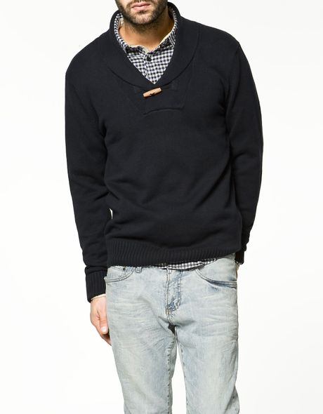 Zara Tuxedo Sweater with Button in Blue for Men (navy) | Lyst