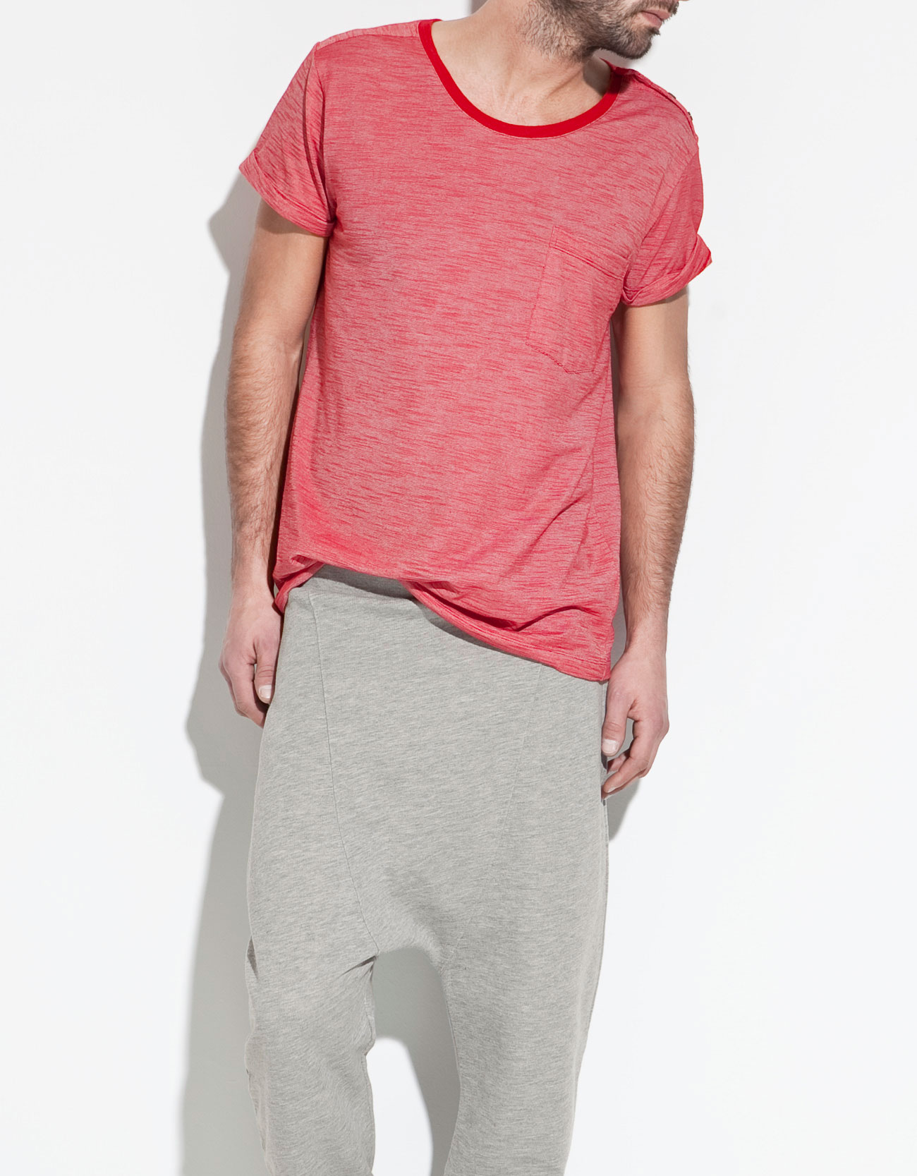 Zara striped t shirt with pocket in red for men lyst for Zara mens shirts sale