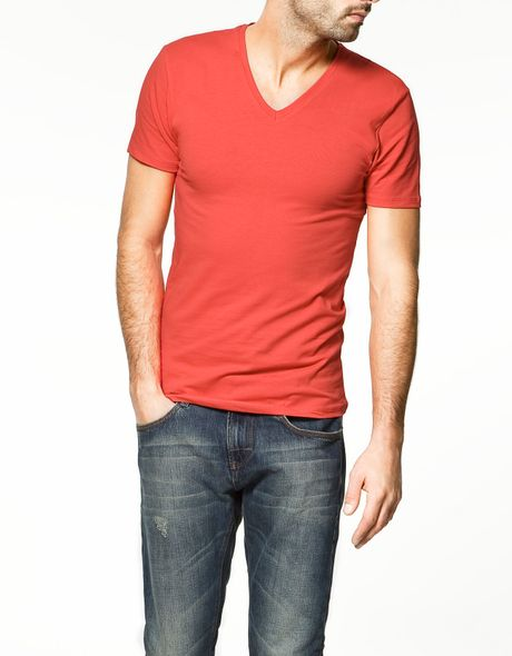Zara Super Slim Fit T Shirt In Red For Men Lyst