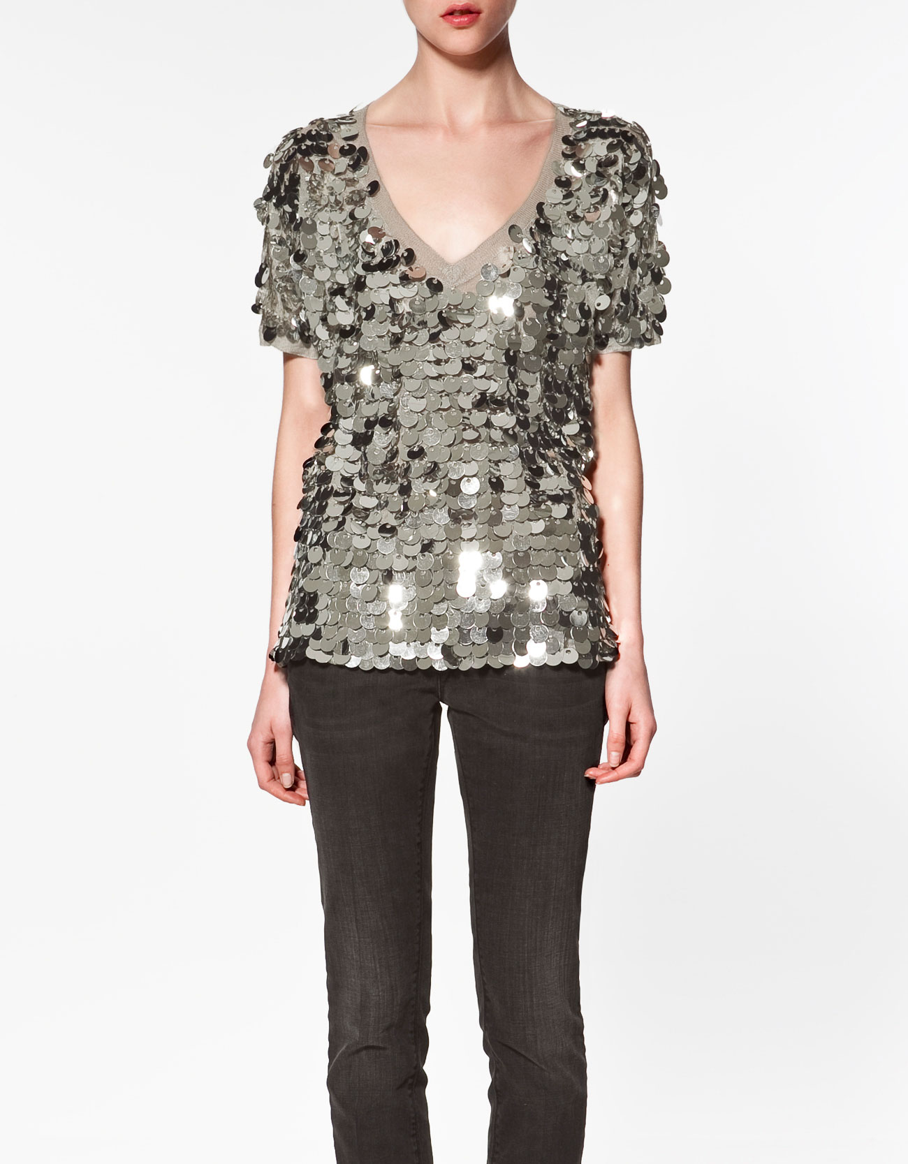 Zara Top with Sequins in Silver | Lyst