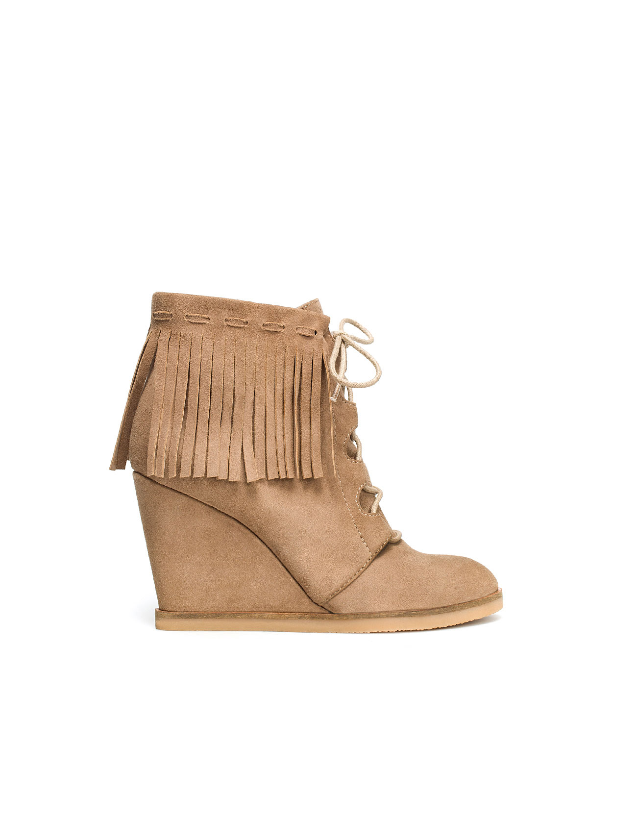 zara wedge ankle boot with fringes in brown taupe lyst