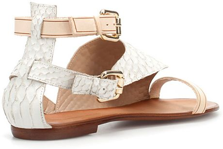 Zara Snakeskin Print Sandals In Animal White Lyst