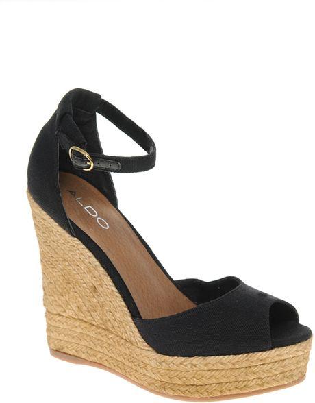 aldo aldo lovin espadrille wedge sandals in black lyst