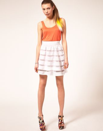 ASOS Collection Asos Full Skirt in Mesh and Solid Stripe - Lyst