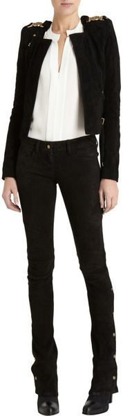 Balmain Suede Slim Pant in Black (gold) - Lyst