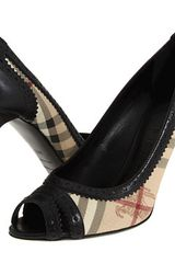 Burberry Haymarket Brogue Peep Toe Pump - Lyst
