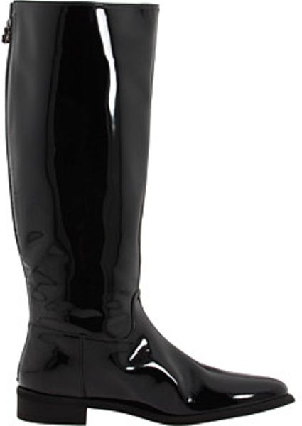 Burberry Patent Leather Riding Boots In Black B Lyst
