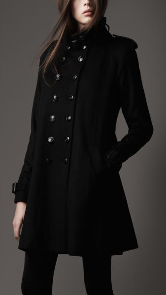 Burberry Funnel Neck Military Coat in Black - Lyst