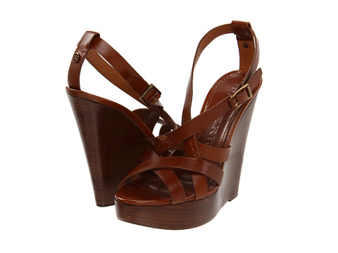 1d9f511c3f Burberry Sandals Bridle Delamer 120 Wedge in Brown - Lyst