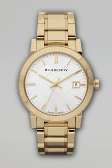 Burberry Check Sunray Watch, Golden - Lyst