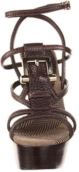 Burberry Check Canvas Jacquard Wedge Sandal in Brown (k