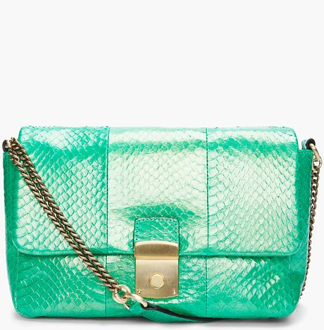 By Malene Birger Green Snake Skin Bag in Green