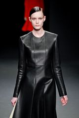 Calvin Klein Fall 2012 Black Leather KneeLength Dress with White Leather Panels on the Sides in Black - Lyst