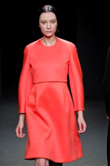 Calvin Klein Fall 2012 Knee Length Two Piece Sculpted Dress In Red - Lyst