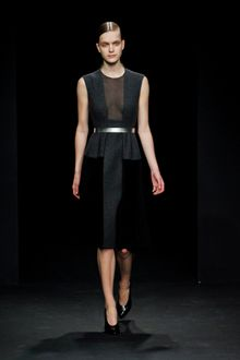 Calvin Klein Fall 2012 Sleeveless Knee Length Panelled Dress With Sheer Decolletage Insert In Dark Grey And Black  - Lyst