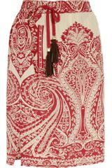 Etro PaisleyPrint Silk Skirt in Red - Lyst
