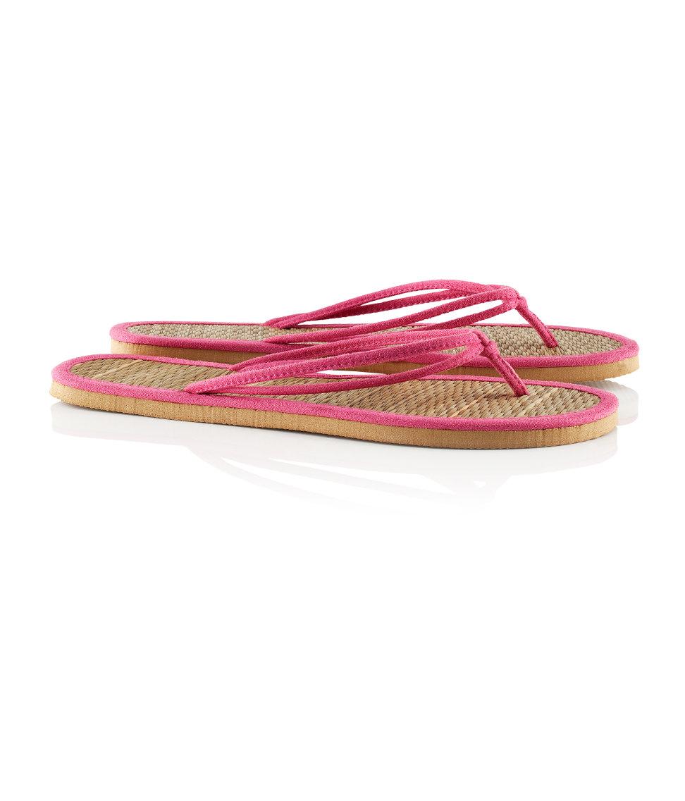 H Amp M Flip Flops In Pink Straw Lyst